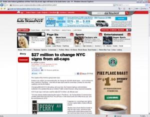 Website der New York Post mit Web-Banner von Starbucks