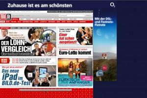 Webseite: Bild.de mit Wallpaper von O2