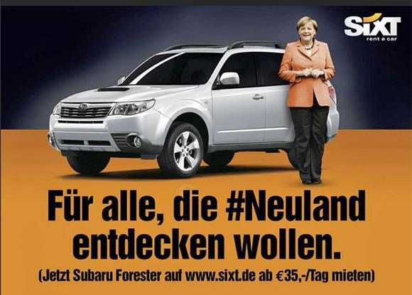 Online-Banner von Sixt mit Angela Merkel