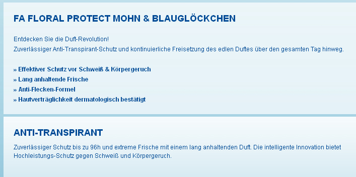 Screenshot der Fa-Website