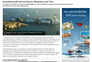 schlecht platzierte Werbung: AIDA neben einem Bericht zum Schiffsunglück