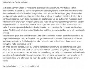 Original Kommentar von Franzi Do an die Deutsche Bahn auf Facebook